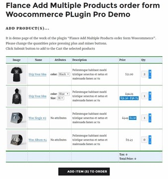 Flance Add Multiple Products order form PRO Woocommerce PLugin